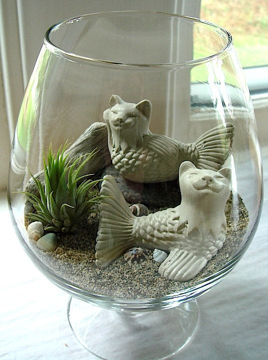 Sunbathing Cat Mermaid Cat Fish with Air Plant by TyberKatz, $27.99:
