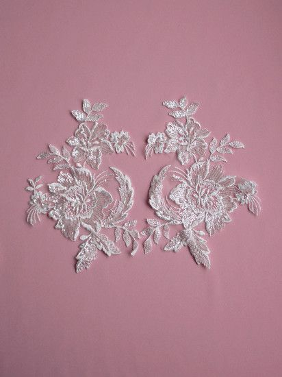 1 PAIR Of Delicate Beaded Floral Appliques - OLGA
