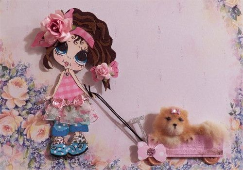 Besties girl with OOAK Pomerianan dog for scrapbooking pages