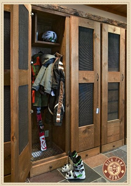 Mud room what a great idea for everyone to have their for Entryway lockers with doors