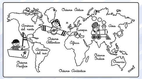 Dibujos De Mapamundi Para Colorear Para Ninos Mapas Para Ninos Los Continentes Para Ninos Continentes Y Oceanos