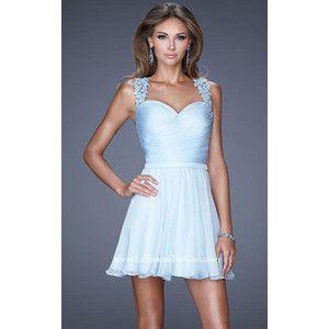 Short Powder Blue La Femme 20590 A Line Homecoming Dress