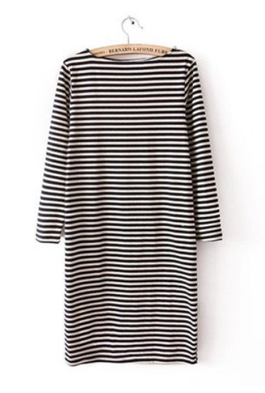 Black White Striped Long Sleeve Sweater Dress - FOR THE CLOSET ...