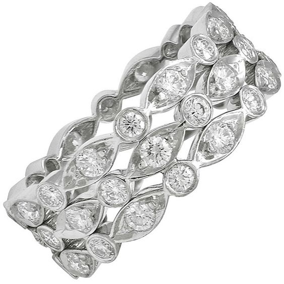 """Preowned Tiffany & Co Diamond """"swing """" Ring (958245 RSD) ❤ liked on Polyvore featuring jewelry, rings, multiple, preowned rings, diamond jewelry, sparkle jewelry, diamond rings and tiffany co jewellery"""