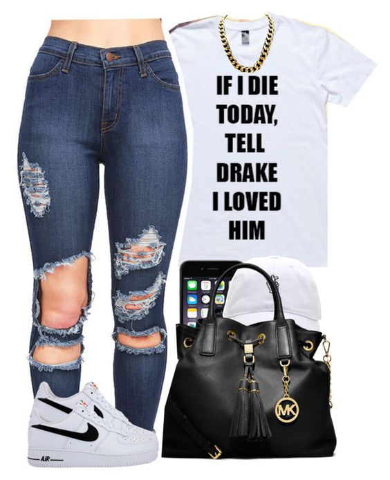 """""""tell drake"""" by yeauxbriana ❤ liked on Polyvore featuring Nicki Minaj, MICHAEL Michael Kors and NIKE"""