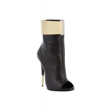GIUSEPPE ZANOTTI Metal-Cuff Ankle Boots  Fresh Markdowns via savoirmode.com #savoirmode #boots #opentoe #black #shoes #giuseppezanotti #ankleboots #shop #firstmarkdown #style #fashion