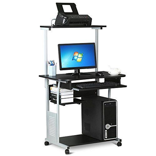 Yaheetech Home Office Mobile Compact Computer Desk With Keyboard Tray On Wheels Computer Desks For Home Home Office Computer Desk Printer Shelf