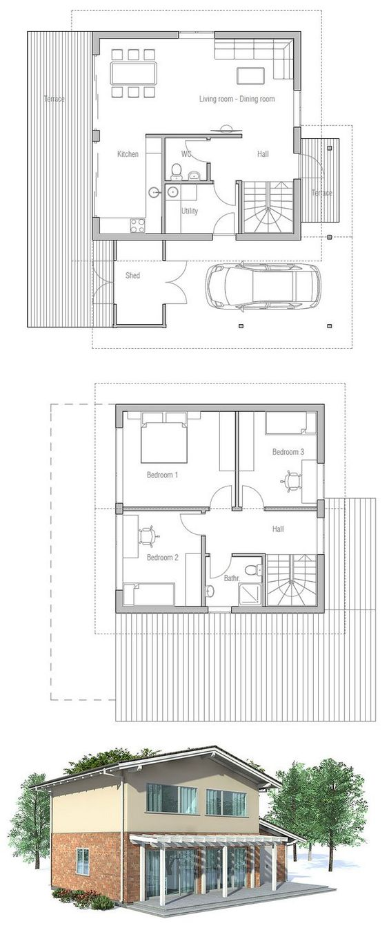 Small house plan to narrow lot full wall height windows for Small house plans with lots of windows