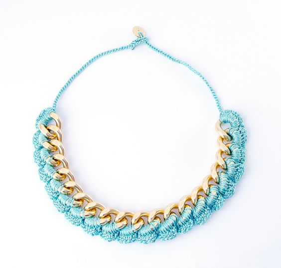 Thick crochet chainlink necklace. $75.00, via Etsy.