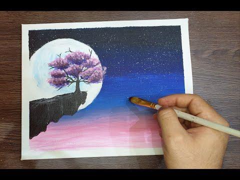 رسم شجرة الكرز تحت ضوء القمر رسم اكريليك Youtube Tree Drawing Drawings Acrylic
