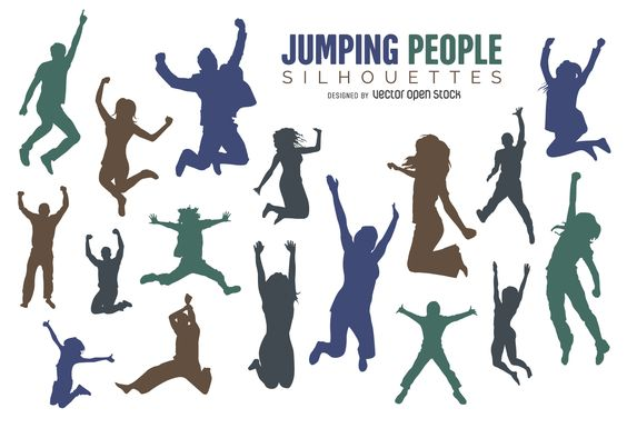 People jumping silhouette set