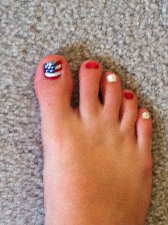 My Fourth of July flag toenails I did myself!