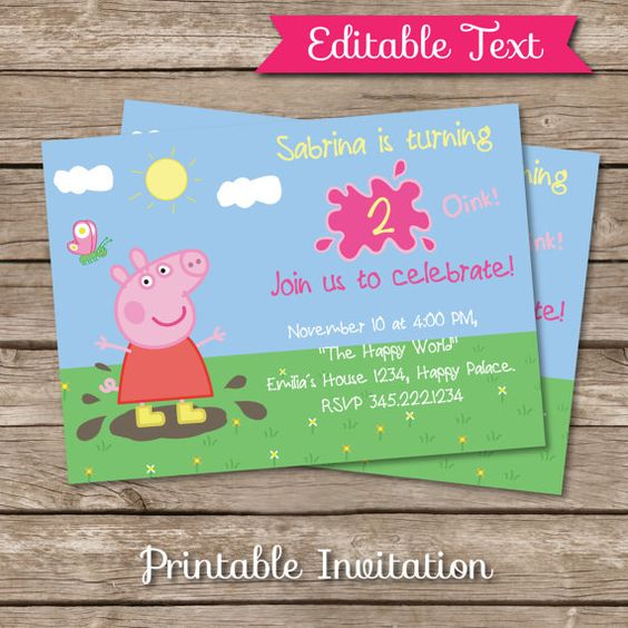 Peppa Pig inspired Printable Invitation by SandiaPrintables