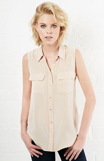 Equipment Sleeveless Signature Silk Shirt in Nude XS - L | DAILYLOOK