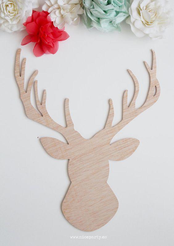 Cabeza de ciervo decorativa de madera por niceparty en for Cabeza de ciervo