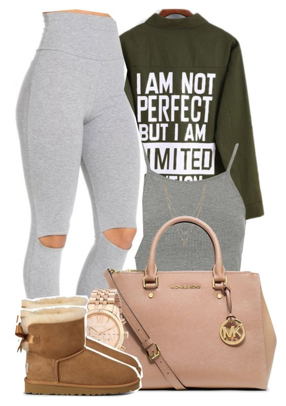 """""""Falling so fast I'm afraid of you, so I lied to keep you from breaking my heart"""" by mindlesspolyvore ❤ liked on Polyvore featuring Topshop, Jessica Simpson, MICHAEL Michael Kors, Michael Kors and UGG Australia"""