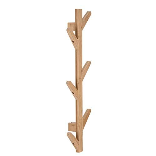 Accuyc Sturdy Wooden Coat Rack Stand 6 Hook Wall Mounted Natural Bamboo Wood Tree Branch Design Coat Rack For Clothes Hats And Bag Wooden Coat Rack Standing Coat Rack Coat Stands