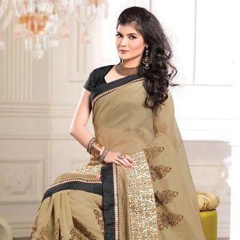 Beige Art Chanderi Cotton Silk Saree with Blouse
