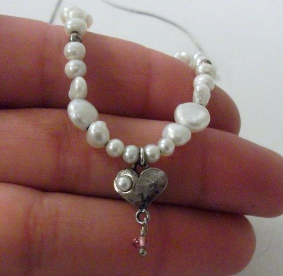Sterling Silver and Pearl Necklace by onetime on Etsy, $6.25