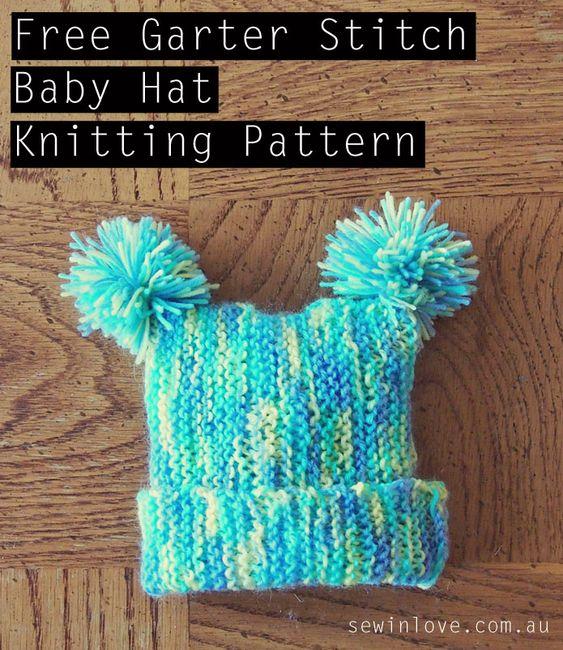 Garter Stitch Baby Knitting Patterns : Free baby hat knitting pattern with pom poms garter