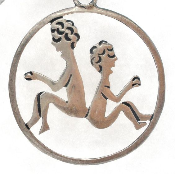 """Pendants for Necklaces - This is a round vintage sterling silver zodiac Gemini twins cut out style pendant. It is hallmarked 925 Mexico Eagle 3 JMH, measures 1.75"""" long and 1.38"""" wide, weighs 4.4 gram"""