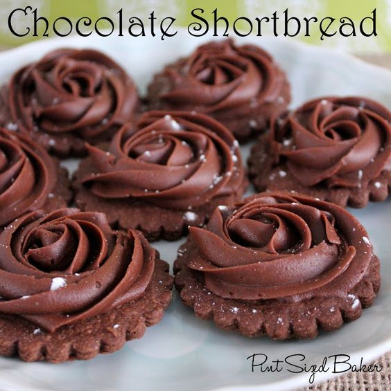 Pint Sized Baker - Chocolate shortbread cookies with chocolate buttercream roses