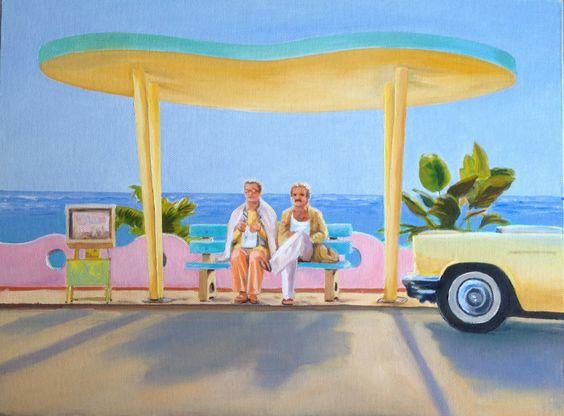 "Scene from film ""Birdcage"" with Robin Williams. Oil on canvas artist Amelia Punton."