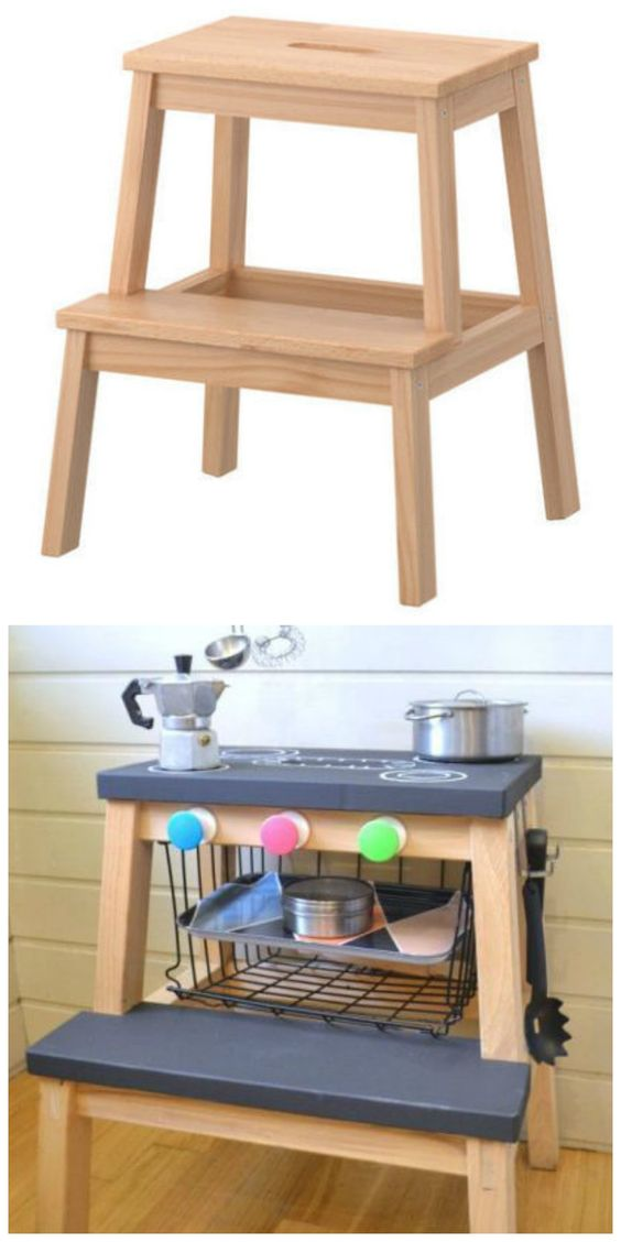 IKEA's Bekvam step stool becomes a child's play kitchen in this cool IKEA hack.:
