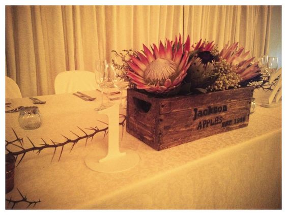 Mixed Protea, Aloe & Succulent Box Arrangement- Main Table