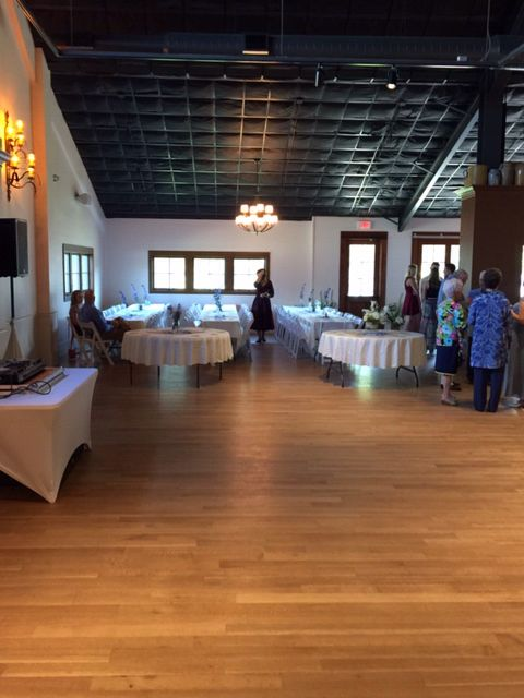 Front half of the hall set up for a 300 guest wedding 9.6.15