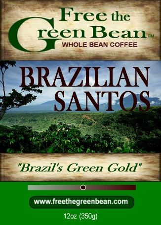 The strong, vibrant flavor and excellent aroma of BRAZILIAN SANTOS whole bean coffee has earned its label as Brazils Green Gold. 12oz