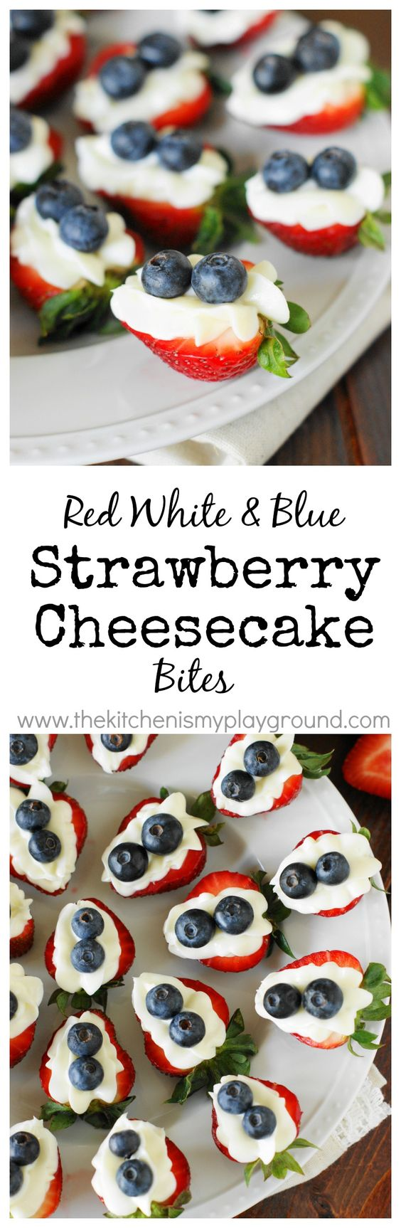 Red, White & Blue Strawberry Cheesecake Bites ~ an easy little 4th of July {or ANY time} treat. www.thekitchenismyplayground.com: