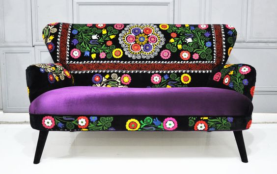 this company makes the freaking COOLEST furniture ever!  Patchwork sofa with Suzani fabrics - 3. $2,200.00, via Etsy.