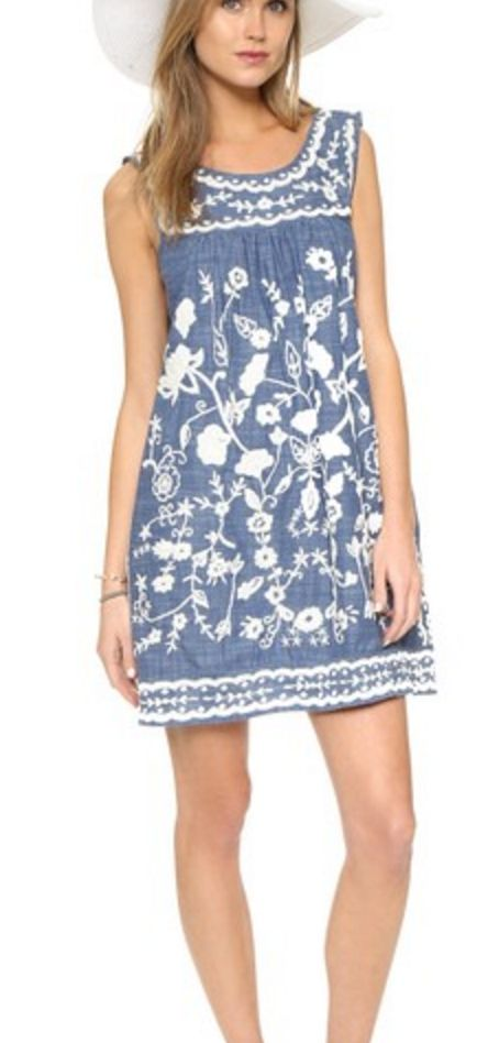 Chambray and White Sleeveless Embroidered Sheathe Dress