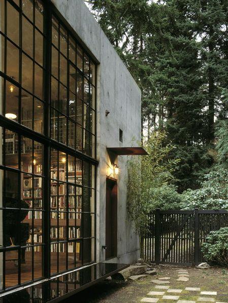 Concrete exterior with metal windows