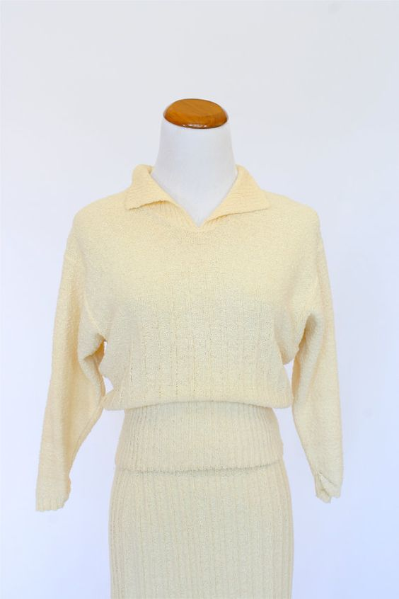 50&39s Vintage Sweater Dress Skirt and Top Set Ivory Sweater Set ...