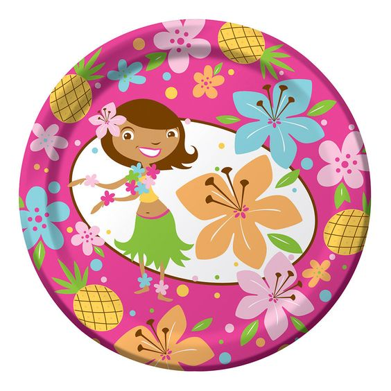 Pink Luau Fun Dessert Plates (8) - Tropical Themed Birthday Party $3.18