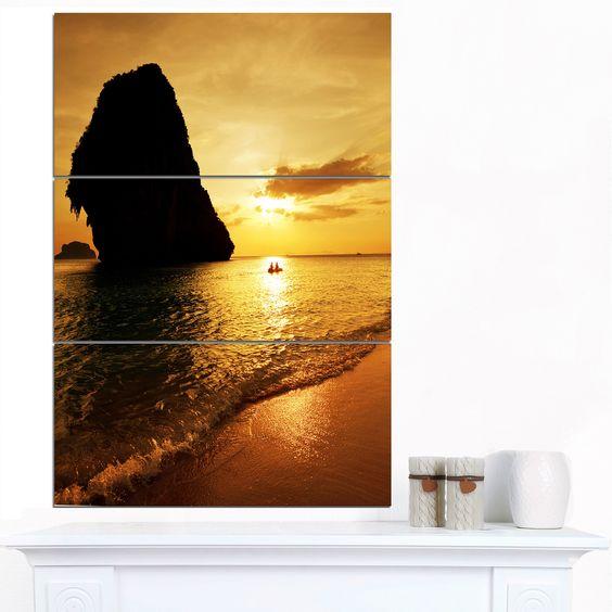 Designart 'Amazing Evening Tropical Beach' shore Wall Art Print