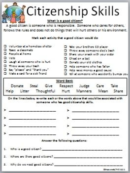 Printables Citizenship Worksheets citizenship worksheets and first page on pinterest