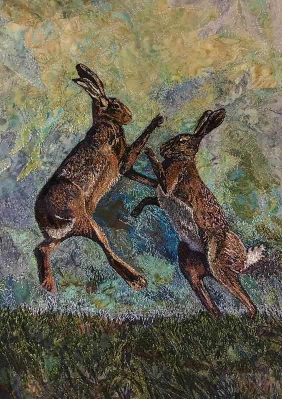 Boxing hares by Rachel Wright. Free machine embroidery.: