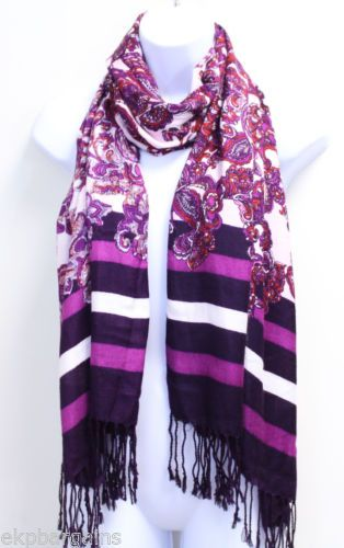 New-With-Tags-Jones-NY-Womens-Paisley-Print-Wrap-Scarf-Pink-MSRP-36-M7004-J