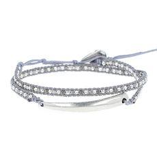 Silver Claw Pendant Double Wrap Bracelet
