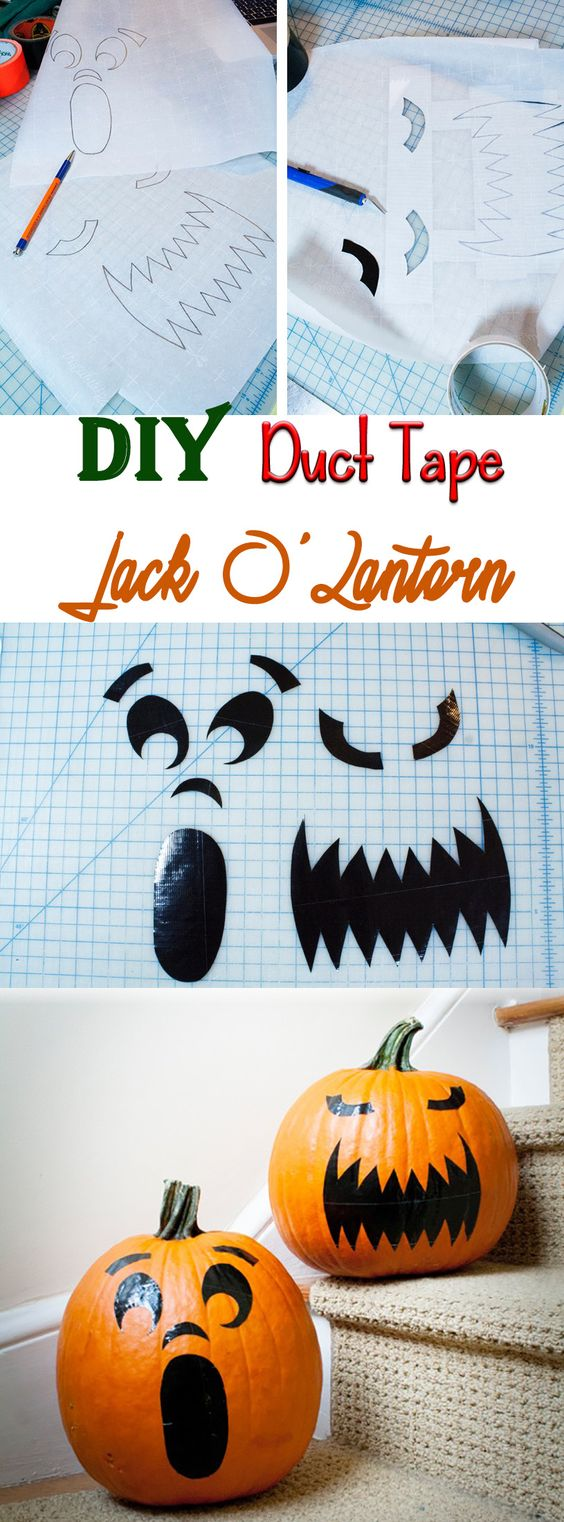 Let the kids make their own #DIY Duct Tape Jack O'Lantern and prevent accidental cuts! via @amberkillmon