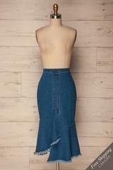 Grazen Blue Jeans Asymmetrical Midi Skirt | La Petite Garçonne
