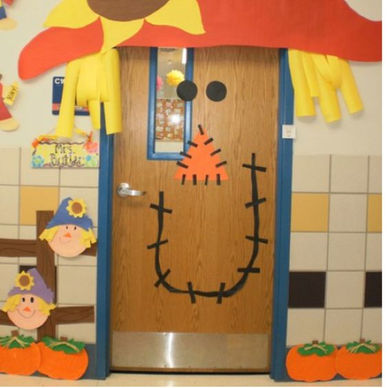 Fall door decoration ideas for the classroom red ribbon for Autumn classroom door decoration ideas