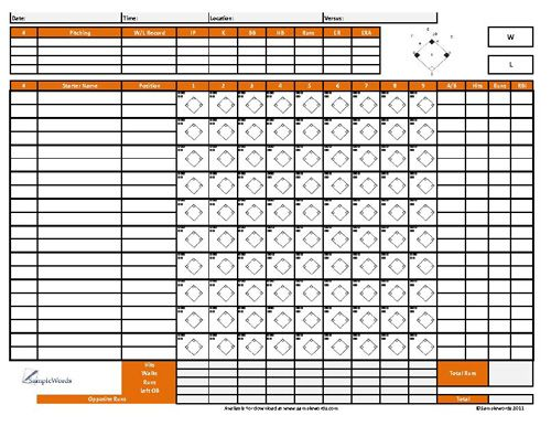 Printable Youth Baseball Score Sheet Baseball / Softball - baseball stats spreadsheet