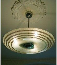 Antike Decken Hänge Lampe 3fl. Plafonnier orig. um 1945-55