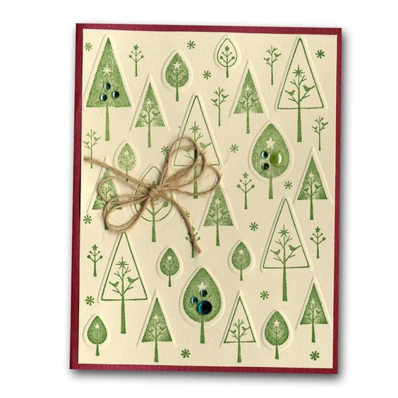 Embossed Stamped Trees Card