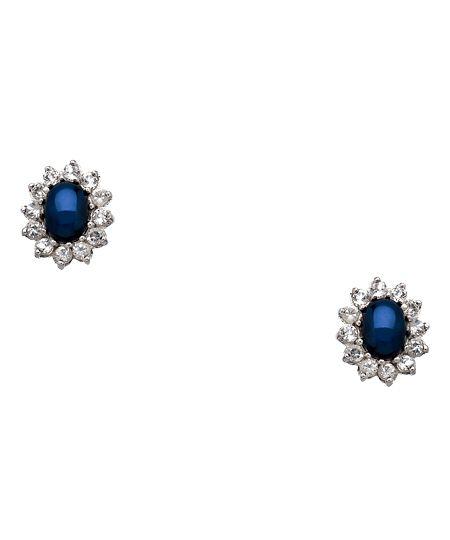 $220 Yobrevol Silver Star Sapphire and White Topaz Stud Earrings