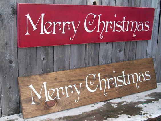 christmas decorations  large rustic Merry Christmas sign by BlondeBomberSigns on Etsy